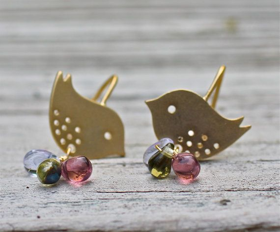 Gold Bird Earrings Love Birds Tween Gift Best Er By Amyfine