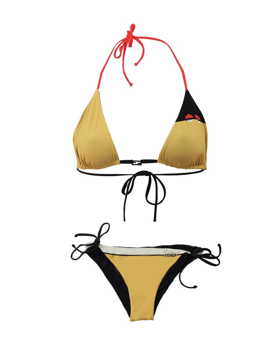 b5a7192443 Fendi swimwear. Fendi monster yellow creatures triangle bikini ...