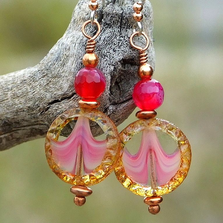 Fuchsia Pink and Brown Handmade Glass Earrings, #Agate Gemstone Artisan Dangle Jewelry by @ShadowDog #ShadowDogDesigns #fuchsia #pink #handmade #earrings #ButterflysPin #Indiemade - $25.00