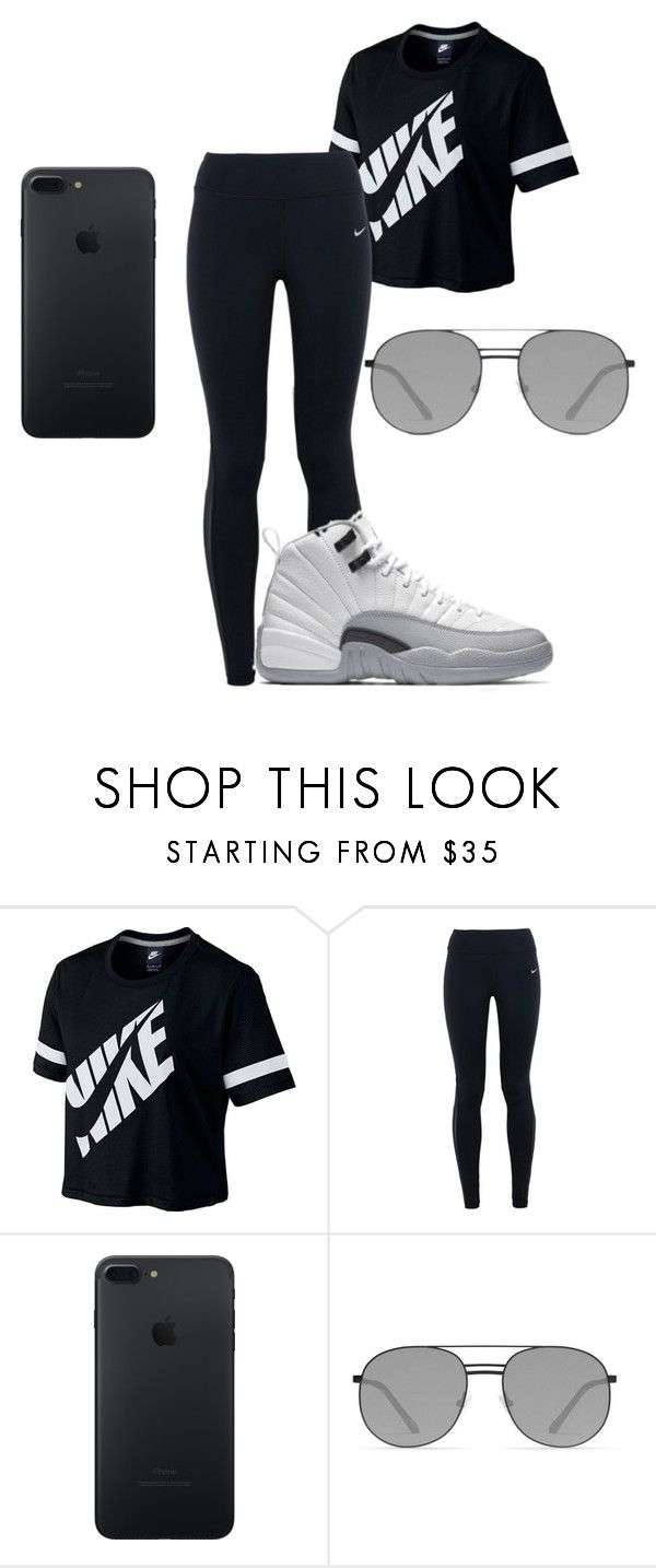 """""""All Black"""" by jasmin-renee on Polyvore featuring NIKE and Elizabeth and James"""