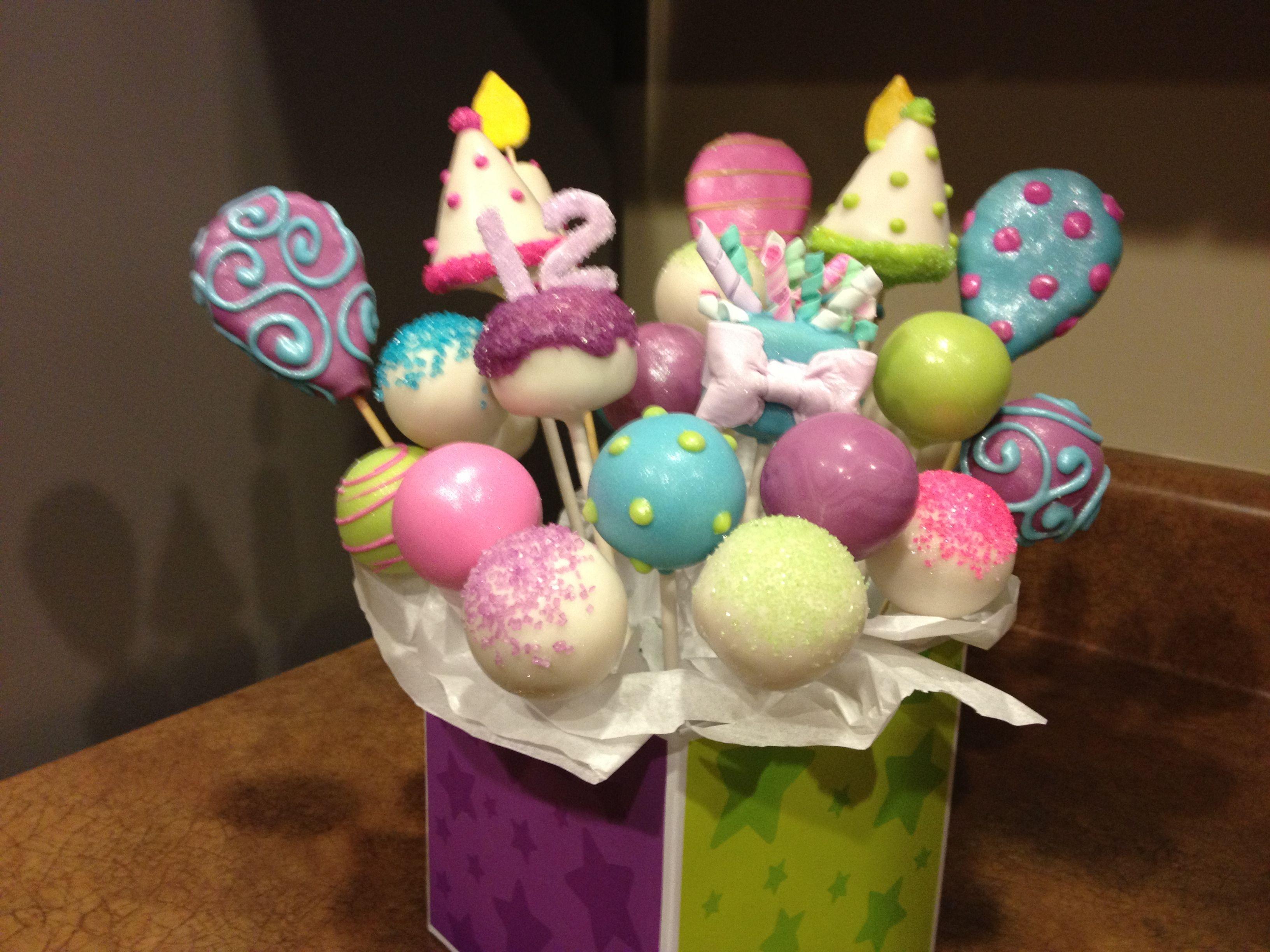 Peachy Happy Birthday Cake Pop Bouquet With Images Birthday Cake Personalised Birthday Cards Sponlily Jamesorg