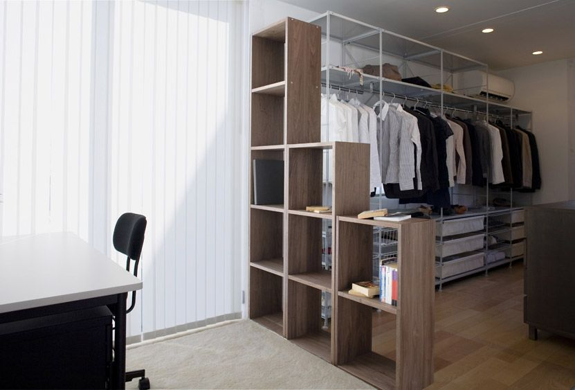 Superior Modern Style Japanese Prefab House Design:Room Divider Shelves From Wood  And White Wardrobe Storage