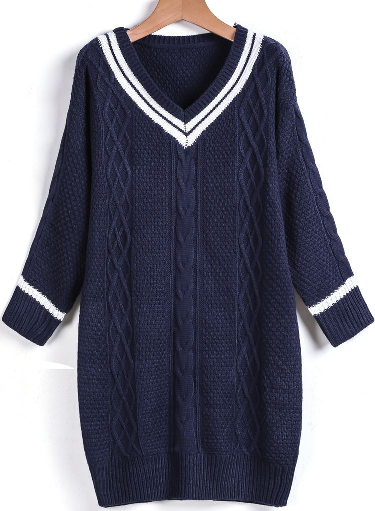 809449905deee7 perfect for everyday use ... Blue V Neck Cable Knit Loose Sweater 26.00