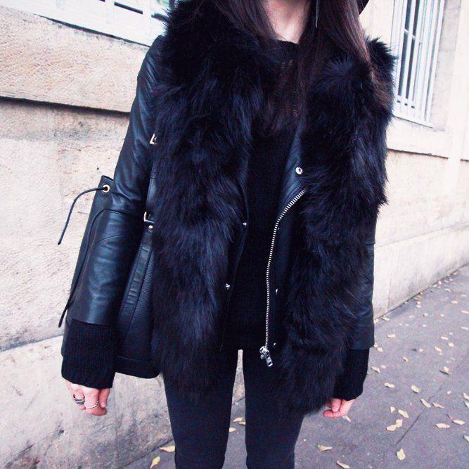 sleeveless black faux fur vest