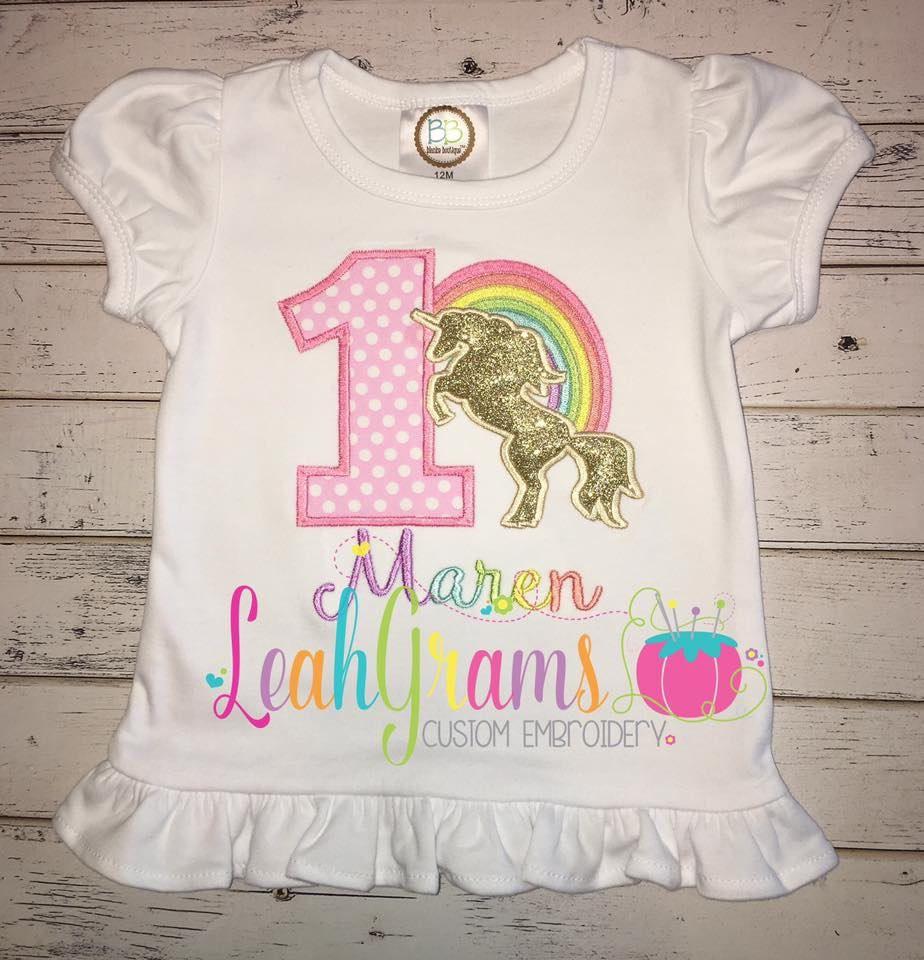 Magical Rainbow Unicorn Birthday Applique shirt Rainbow