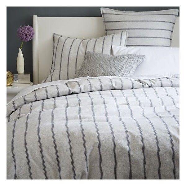 West Elm Flannel Stripe Duvet Cover Twin Graphite Tuxedo Stripe 90 Liked On Polyvore Duvet Cover Master Bedroom Striped Duvet Covers Striped Duvet