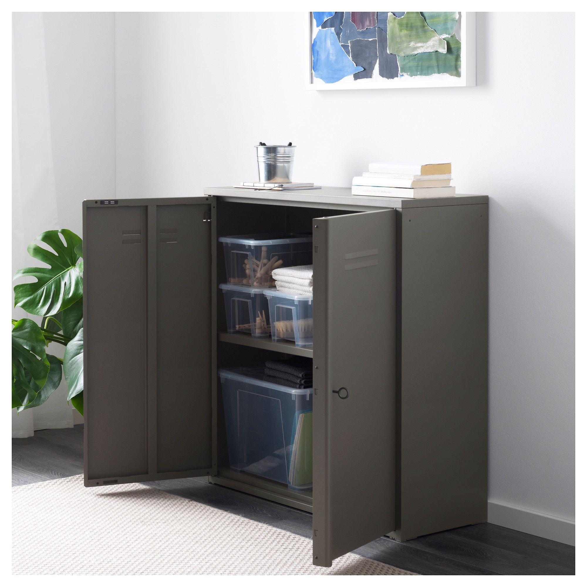 Ikea Ivar Cabinet With Doors Gray In 2019 Cabinet