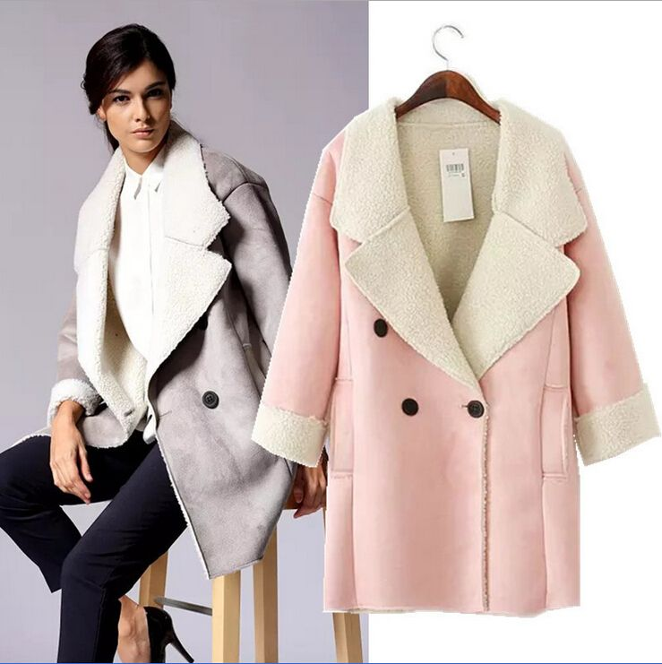 UK Brand Suede Jacket Warm Winter Jacket Women Slim Detachable Fur ...