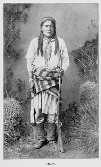 Chato - Mescalero Apache - no date. | Chato (1854–1934) was a Chiricahua Apache warrior who carried out several raids on settlers in Arizona in the 1870's. He was a protege of Cochise, and he surrendered with Cochise in 1872 going to live on the San Carlos Reservation in southern Arizona, where he became an Army scout.