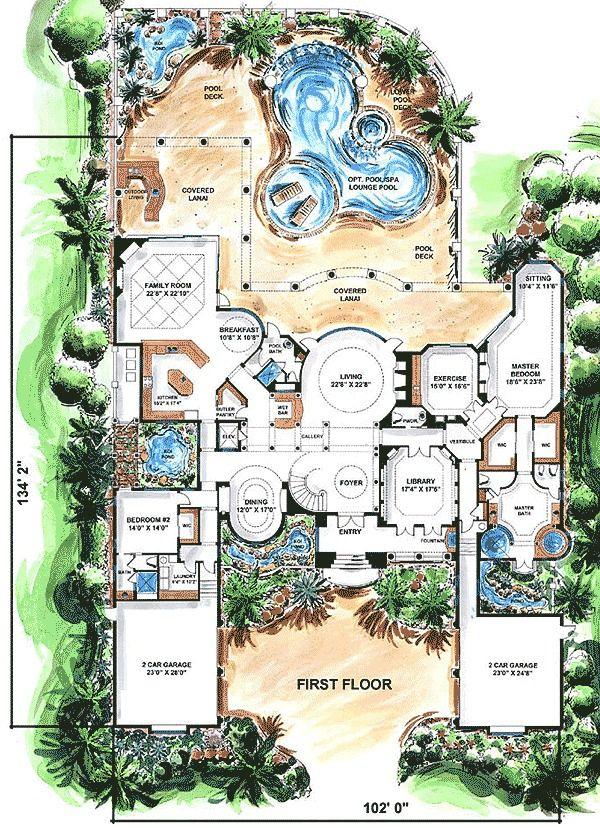 Plan 66021we Old World Estate Mediterranean Style House Plans Floor Plan Design Mediterranean House Plan