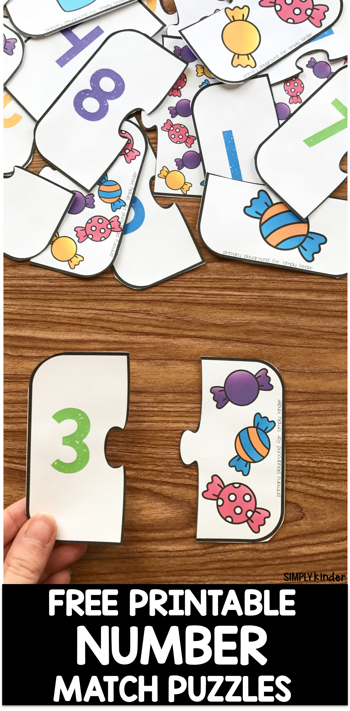 Free Printable Number Match Puzzles Free Printable Numbers Numbers Preschool Preschool