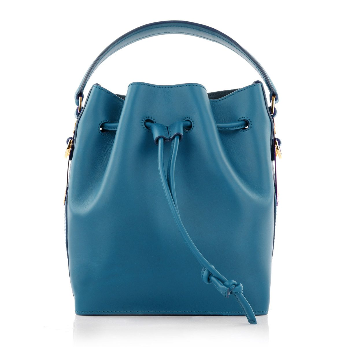 2e6ab4e54409 On trendfocus  Sophie Hulme the latest designer to watch in handbag heaven  with her Drawstring Bucket Bag Saddle S Teal Blue Fashionette.de