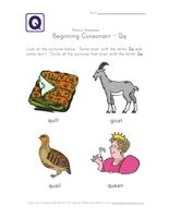 Beginning Consonants Letter Q Worksheet  Beginning Consonants