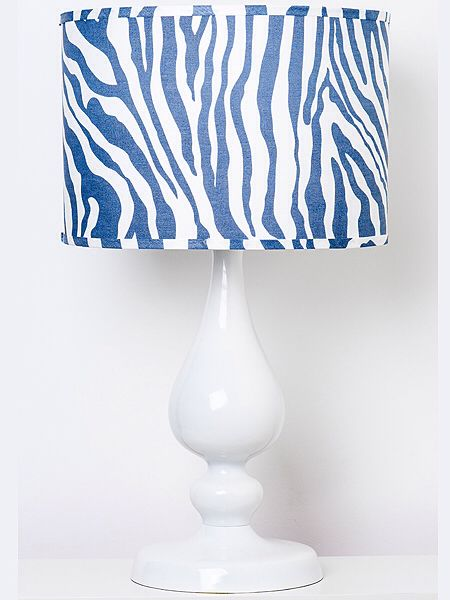 Navy And White Zebra Pattern Linen Lampshade At Www Shopislandhome