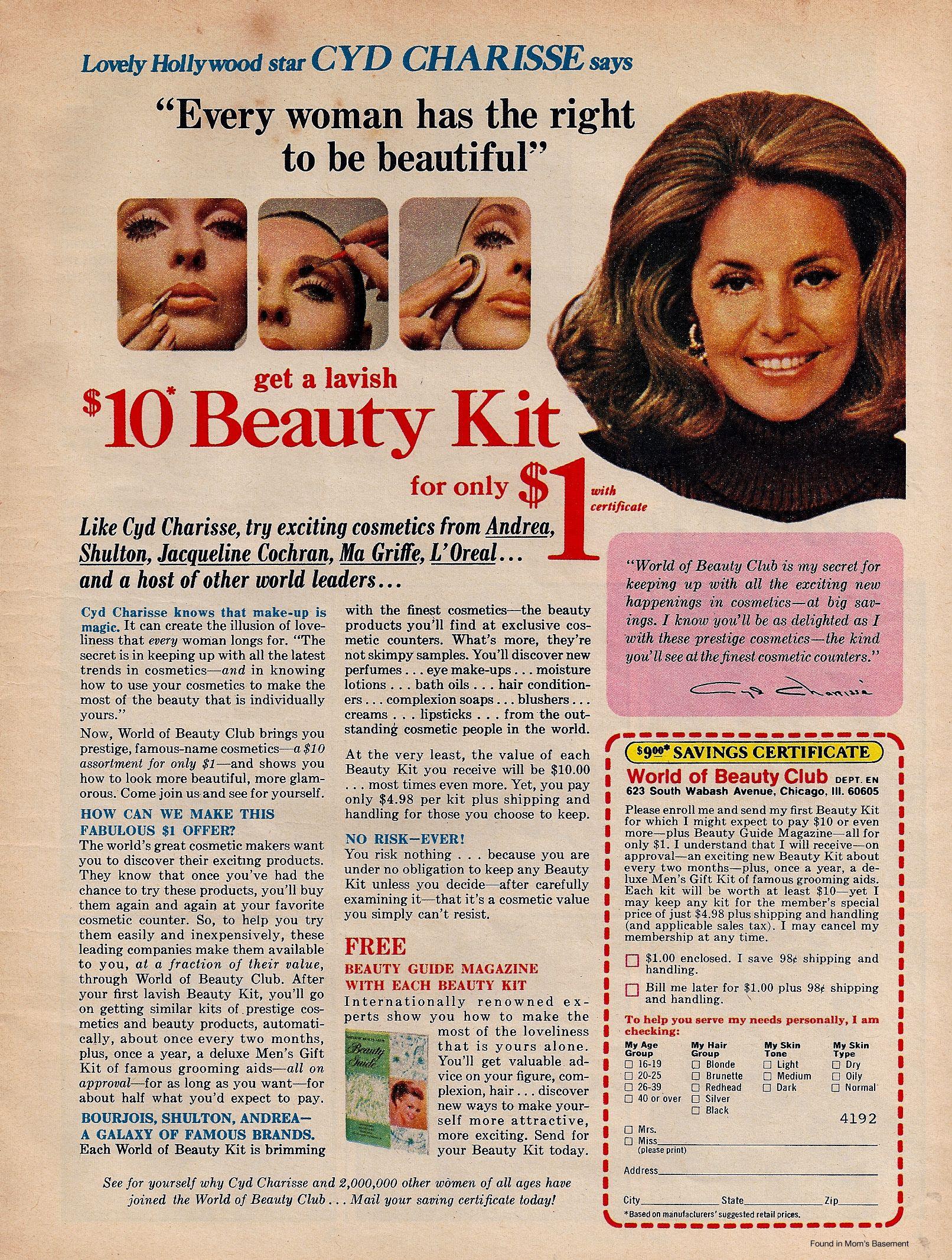 1968 Vintage Jacqueline Cochran Eye Make-up Lipstick Cosmetic Ad Low Price Advertising