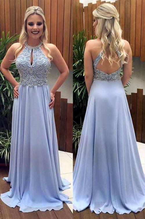 Vestido longo azul claro para madrinha