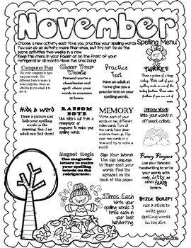 November Spelling Menu   Homework school   Spelling menu