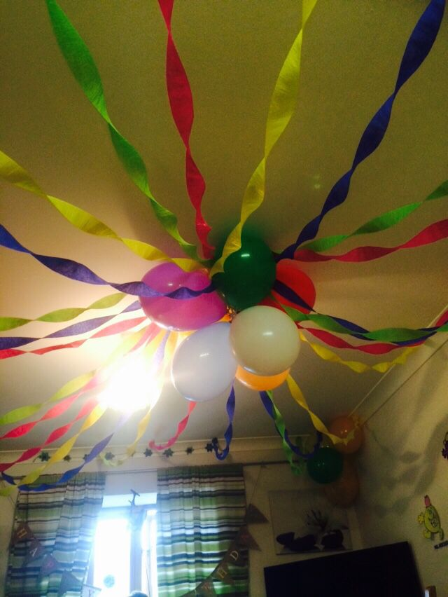 multi coloured balloon crepe paper ceiling canopy - Multi Canopy Decor