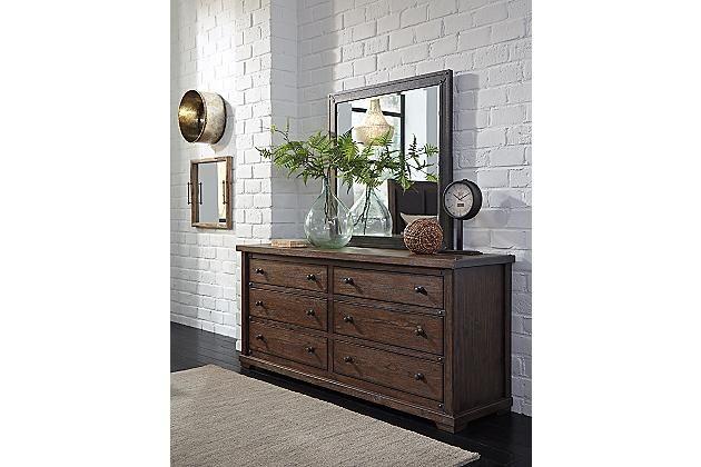 Medium Brown Zenfield Dresser And Mirror View 1 Mirrored Bedroom Furniture Shabby Chic Dresser