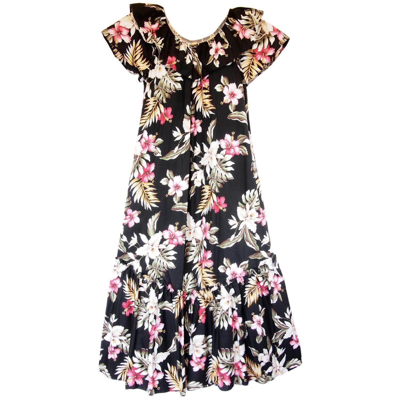 Kopikala Black Long Hawaiian Ruffle Muumuu Dress | Products | Pinterest