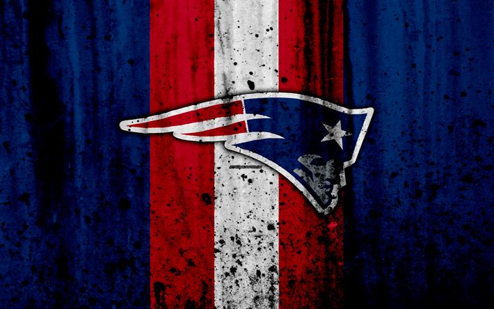 Download wallpapers 4k, New England Patriots, grunge, NFL