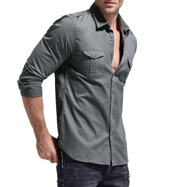 cc49bfd00ad Cotton Cargo Chest Pockets Loose Work Shirts for Men  Shirts ...