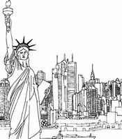 Adult coloring page New-York and Statue of Liberty
