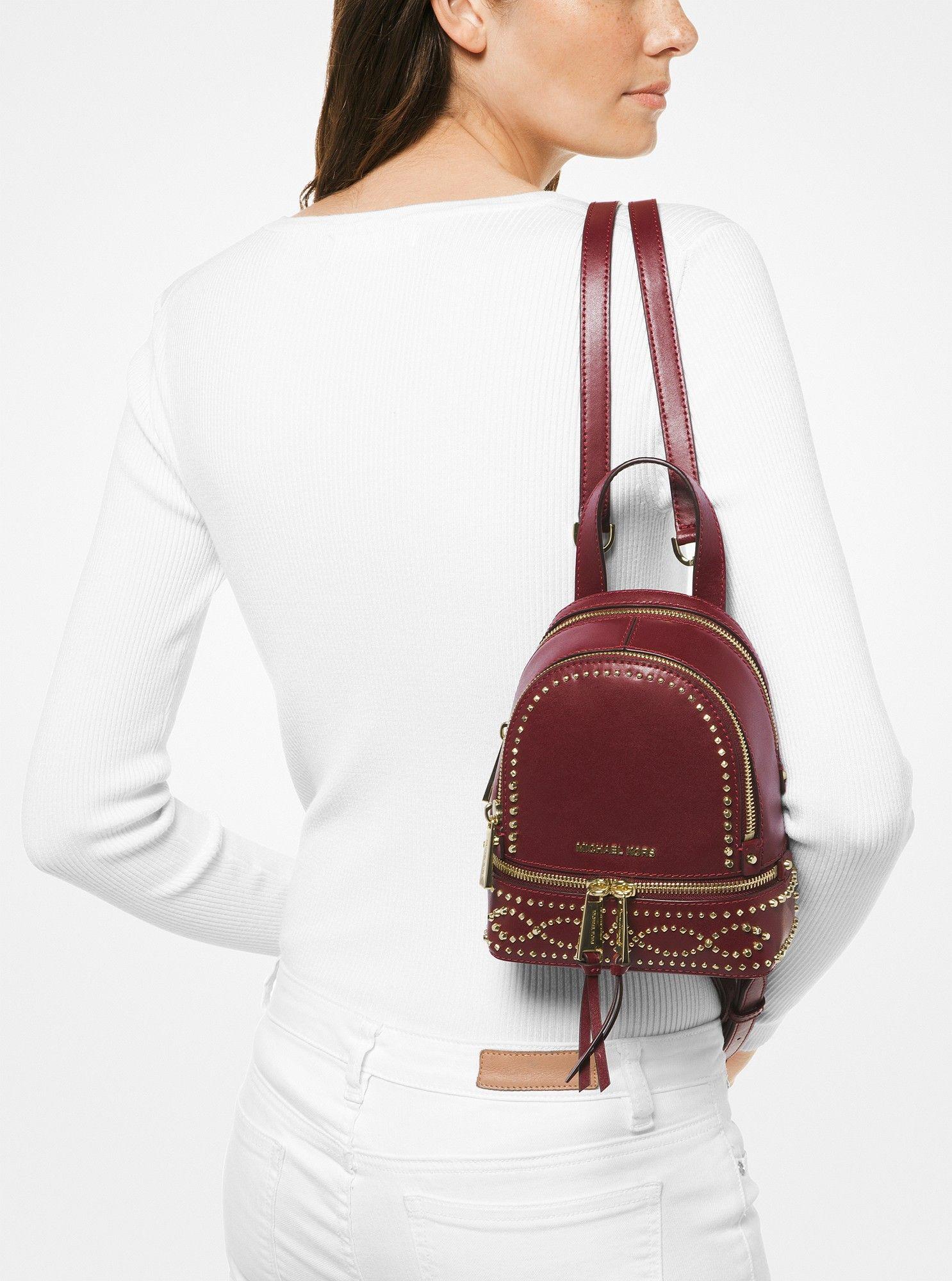 54e54d29c1c5 Michael Kors Rhea Mini Studded Leather Backpack - Oxblood | Products ...