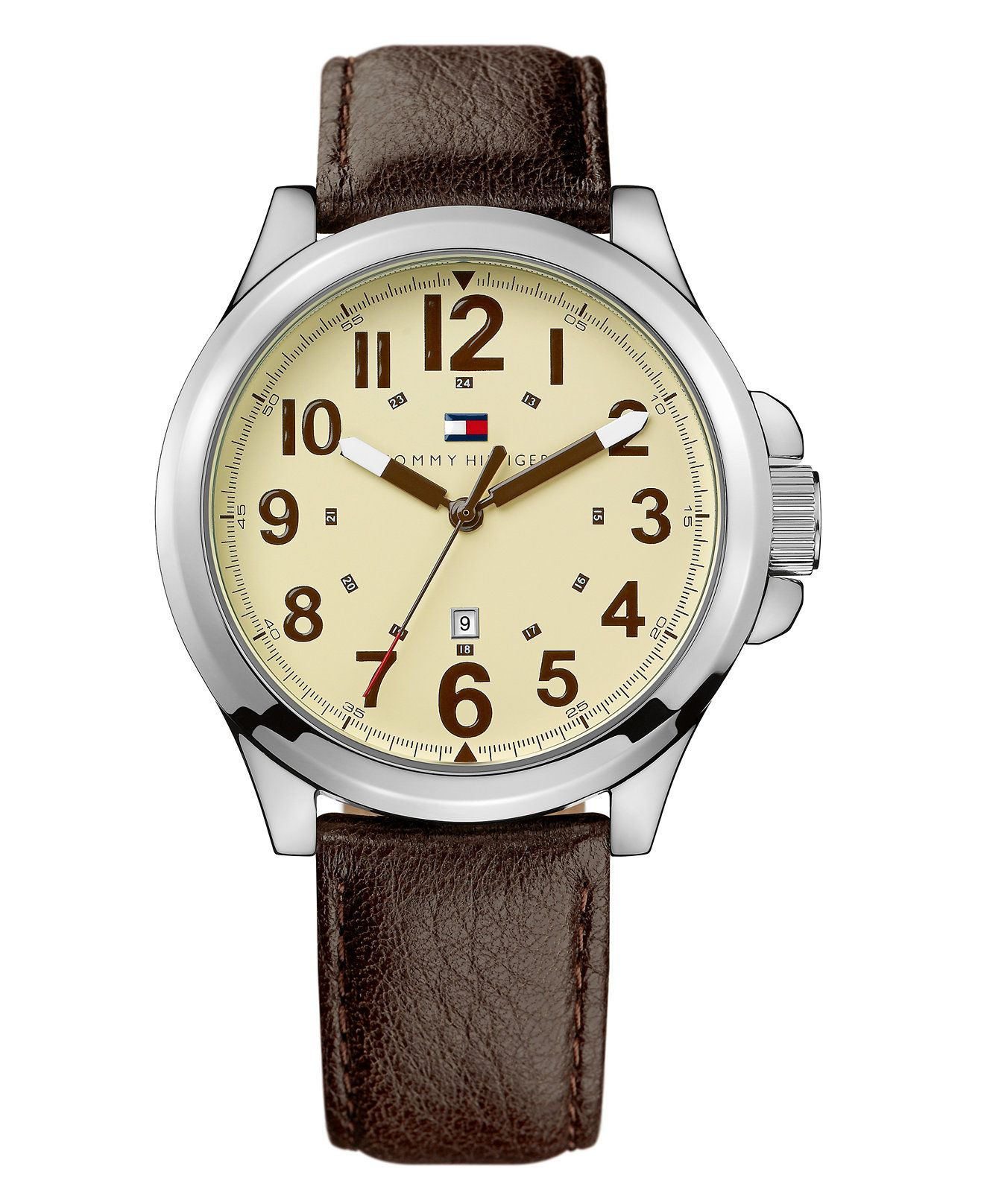 Tommy Hilfiger Watch, Brown Leather Strap 1710298 - - Macy's