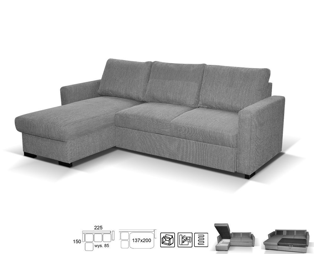 corner sofa bed. NEW LARGE UNIVERSAL CORNER SOFA BED GREY FABRIC RIGHT Or LEFT SIDE WITH STORAGE Corner Sofa Bed C