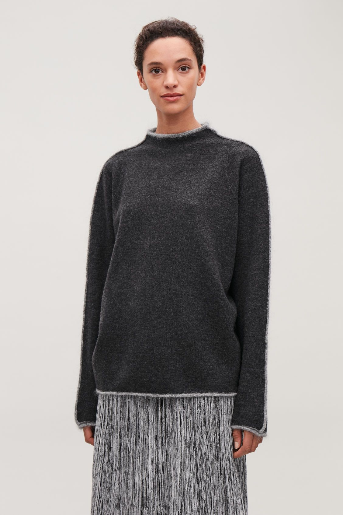 04866ebdab5e Model side image of Cos trimmed boiled-wool jumper in grey | FW18 in ...