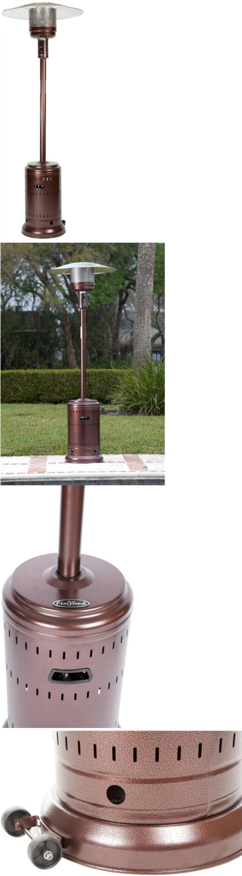 Patio Heaters 106402: Propane Gas Patio Heater Bronze Standing Tower Tall  Warmer Outdoor Rolling Tank