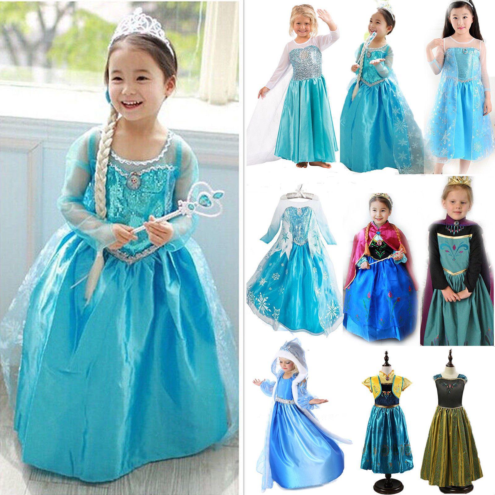 Details zu Mädchen Kinder Prinzessin Kleid Elsa Eiskönigin Karneval ...