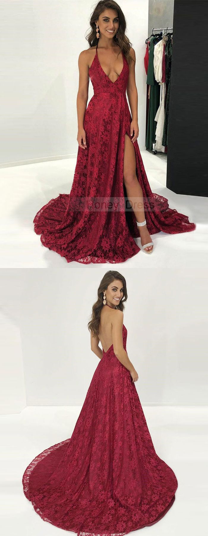 Sexy spaghetti strap burgundy lace deep vneck aline evening gown