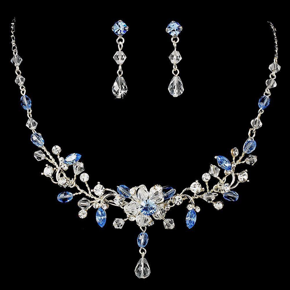 Swarovski crystal bridal jewelry set ne blue wedding rings