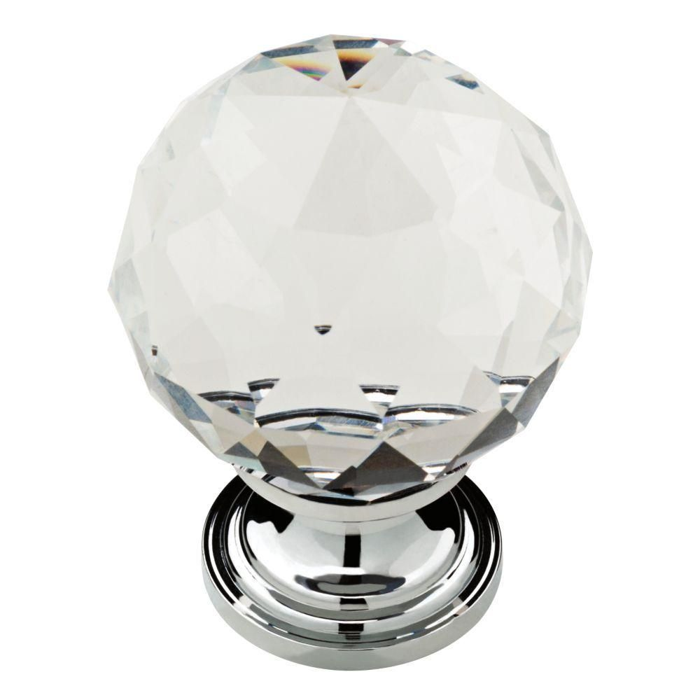 Liberty 1-3/16 in. Chrome with Clear Faceted Glass Ball Cabinet Knob