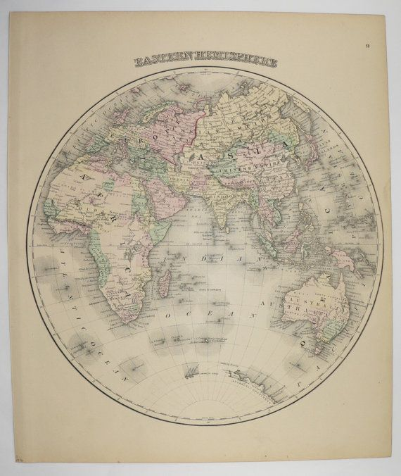 Eastern hemisphere map original antique map of world 1876 ow gray eastern hemisphere map original antique map of world 1876 ow gray map vintage world map globe 1st anniversary gift for couple gumiabroncs Images