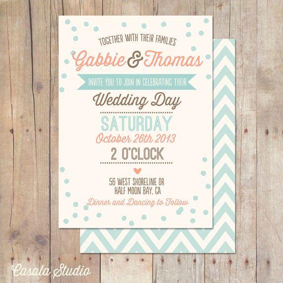 Rustic Vintage Mint Peach Plum Teal Wedding invitation printable by casalastudio