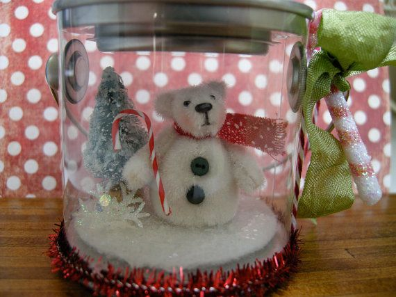 ooak miniature bear snowman by LittleBearPaws on Etsy, $19.50