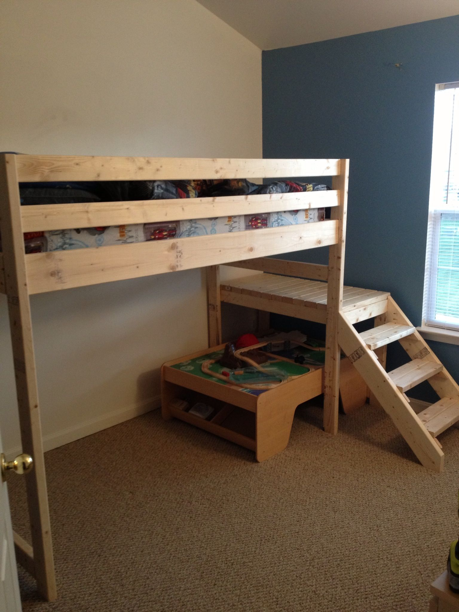 loft bed with stairs Google Search (With images) Queen