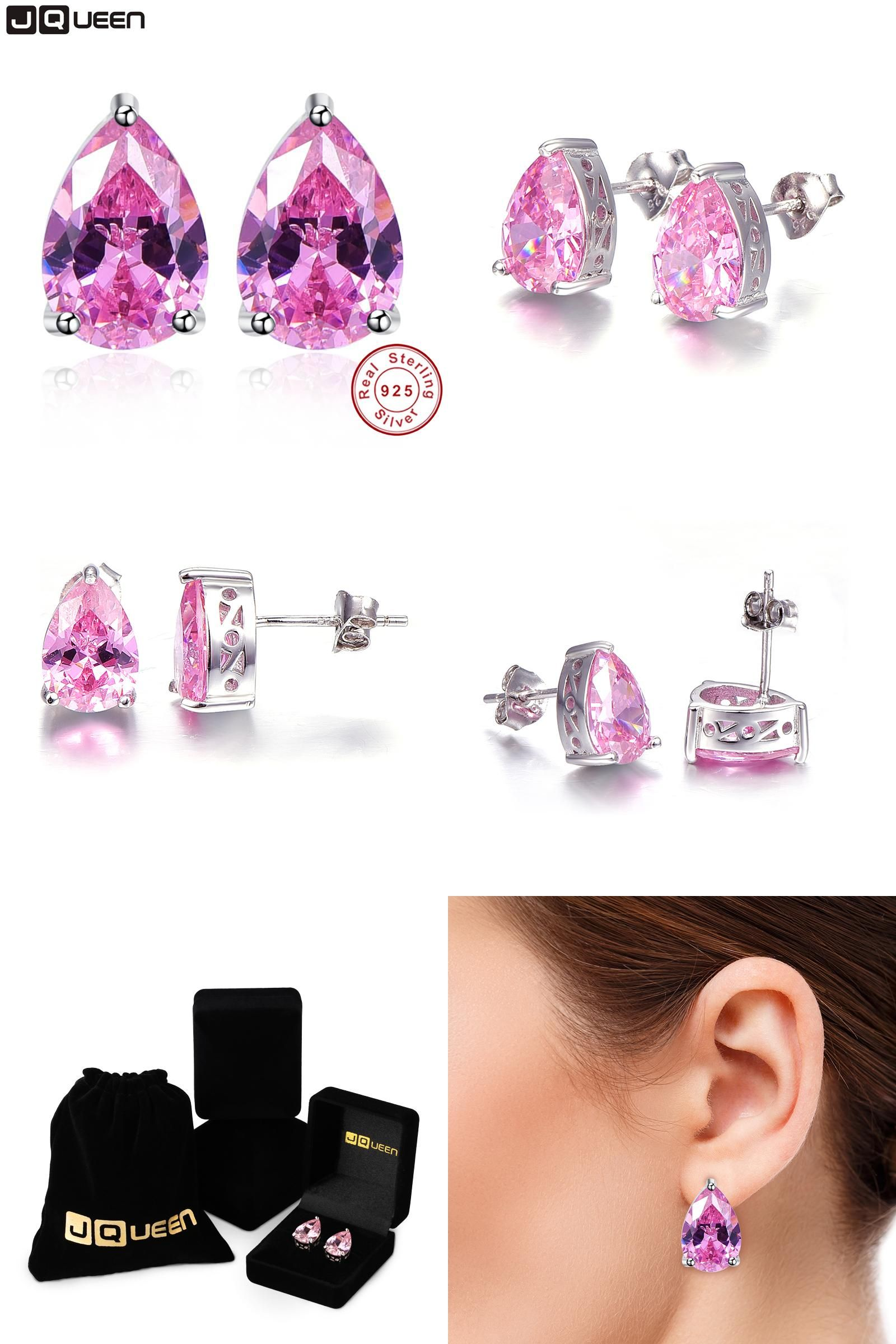 Visit to Buy] Pink Topaz Earring Stick Fashion Water Drop Stone Stud