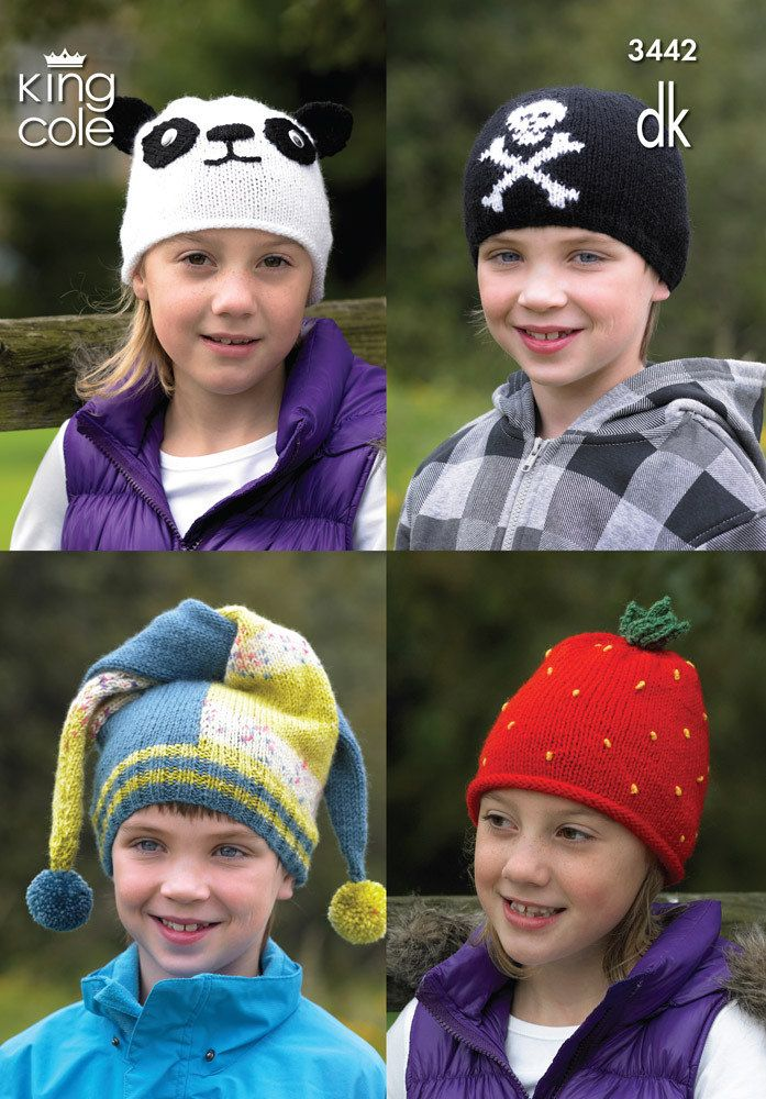 Kid's Novelty Hats in King Cole DK - 3442. Discover more Patterns by King Cole at LoveKnitting. The world's largest range of knitting…