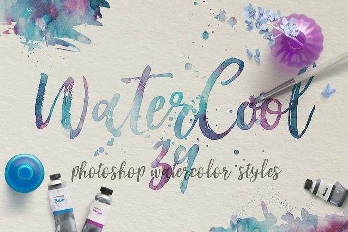Watercool Kit 39 Photoshop Watercolor Styles By Zelenskyruslan