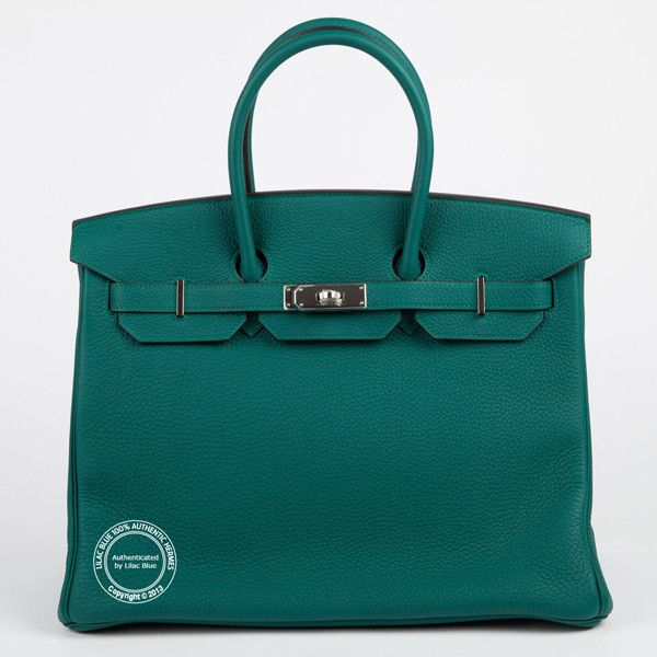 31f79fc5a8 35cm Malachite Birkin in Taurillon Clemence Leather with Palladium  Hardware. Beautiful greeny blue colour