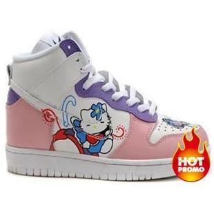 Free delivery -  Nike Dunks High Top Hello Kitty butterfly flower For Girls Shoes