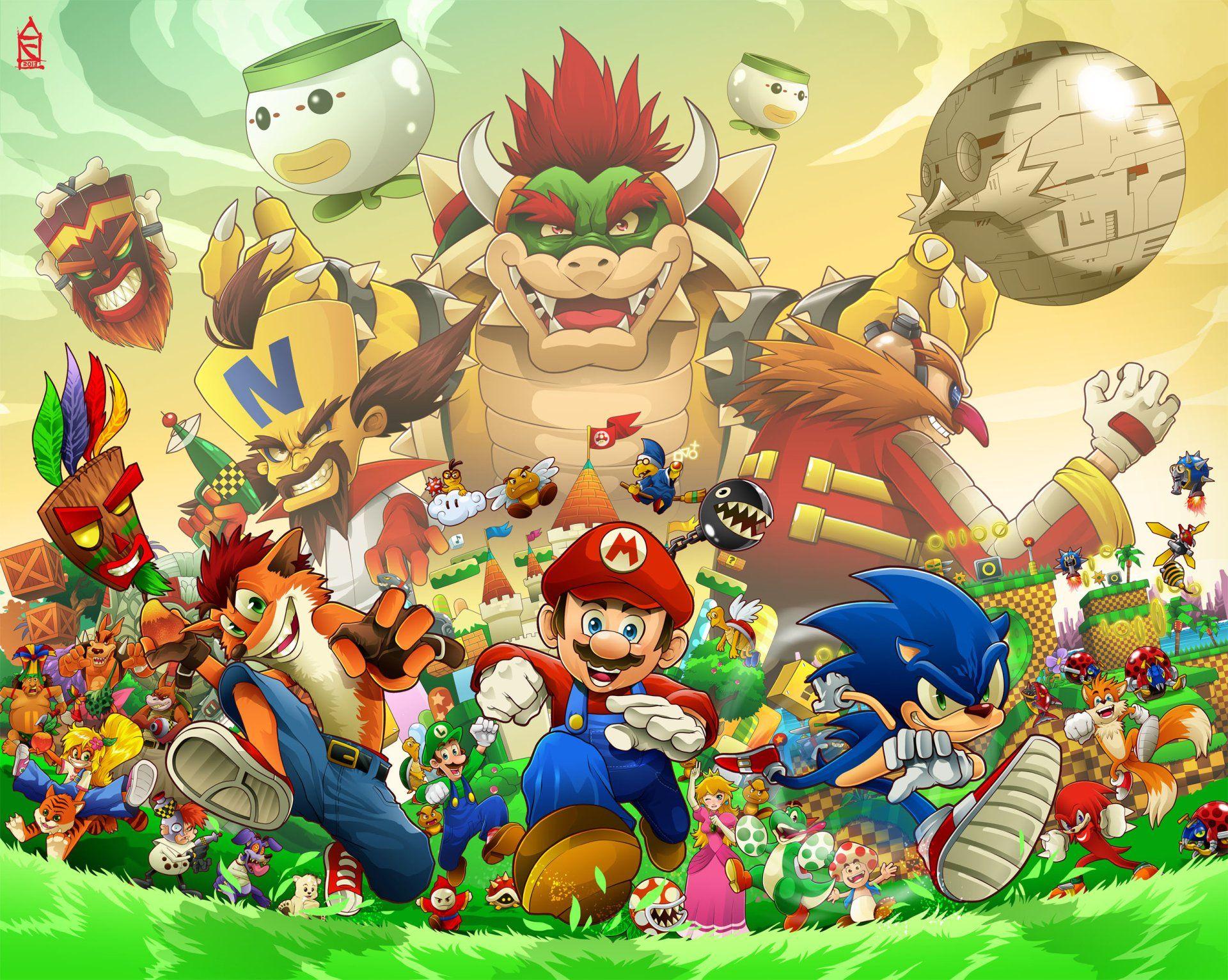 Video Game Crossover Bowser Mario Sega Nintendo Sony Sonic The Hedgehog Super Bros Crash Bandicoot Character Wallpaper
