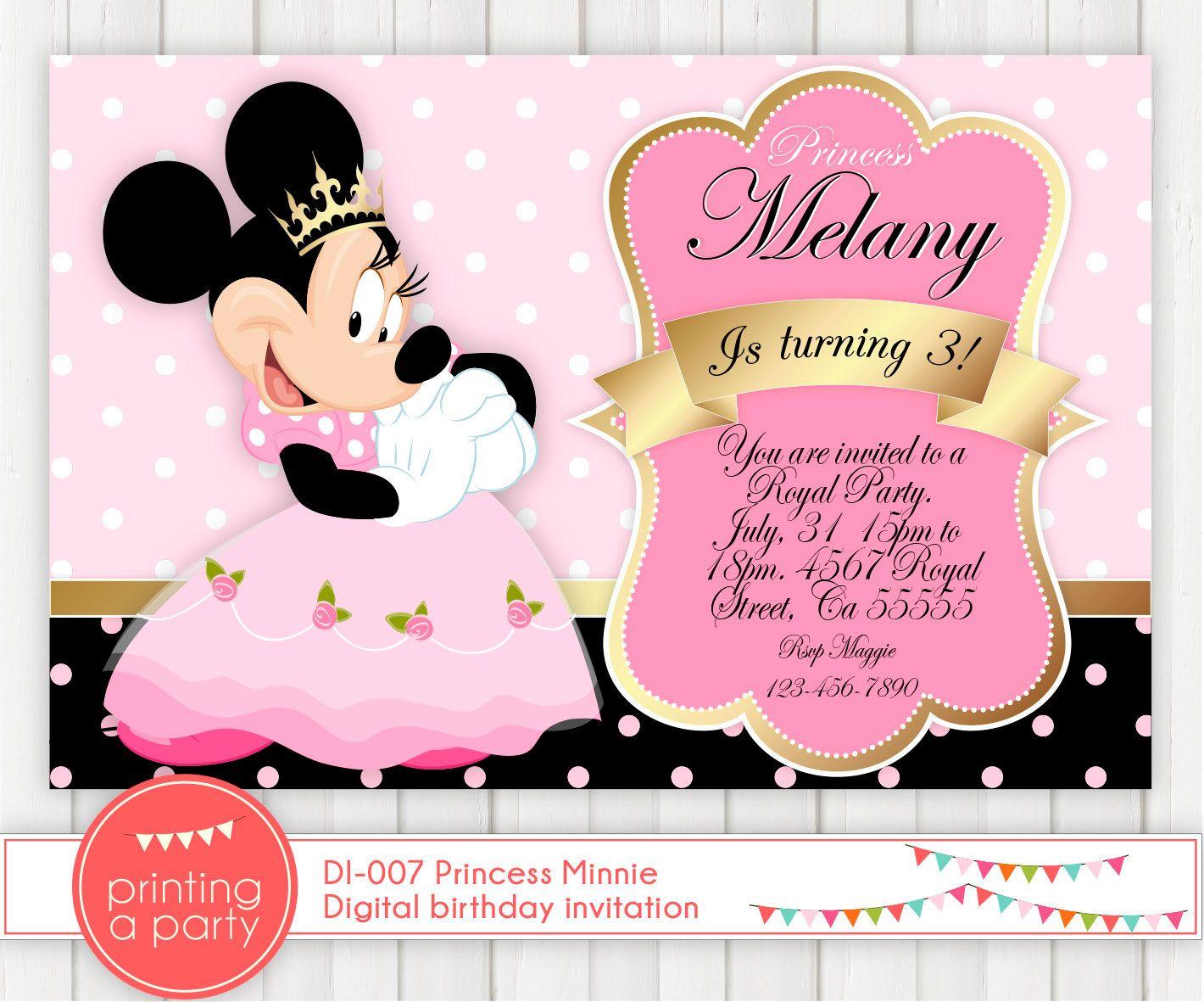 Minnie mouse invitation royal party princess by printingaparty invites pinterest - Princesse minnie ...