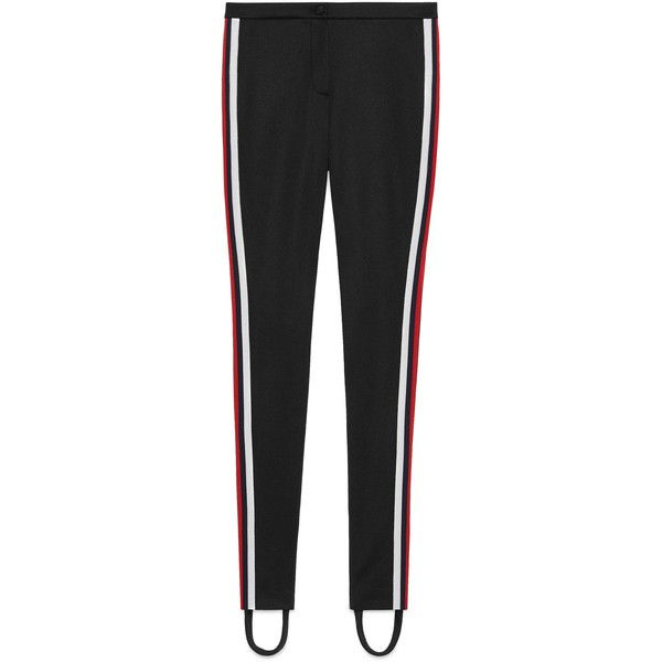 fc443c2913511 Gucci Jersey Stirrup Legging With Web ($615) ❤ liked on Polyvore featuring  pants, leggings, bottoms, pant, black, skinny pants, skinny leg pants, gucci,  ...
