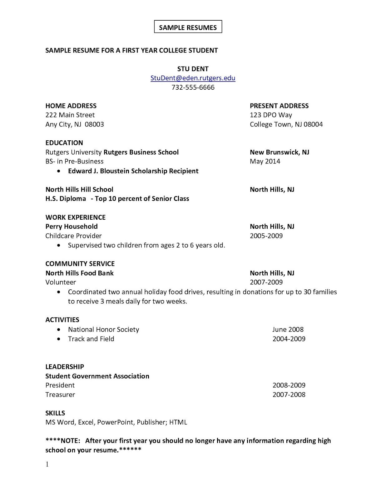 Sample Resume For College Student First Job Sample Resume  Sample Resumes  Sample Resumes
