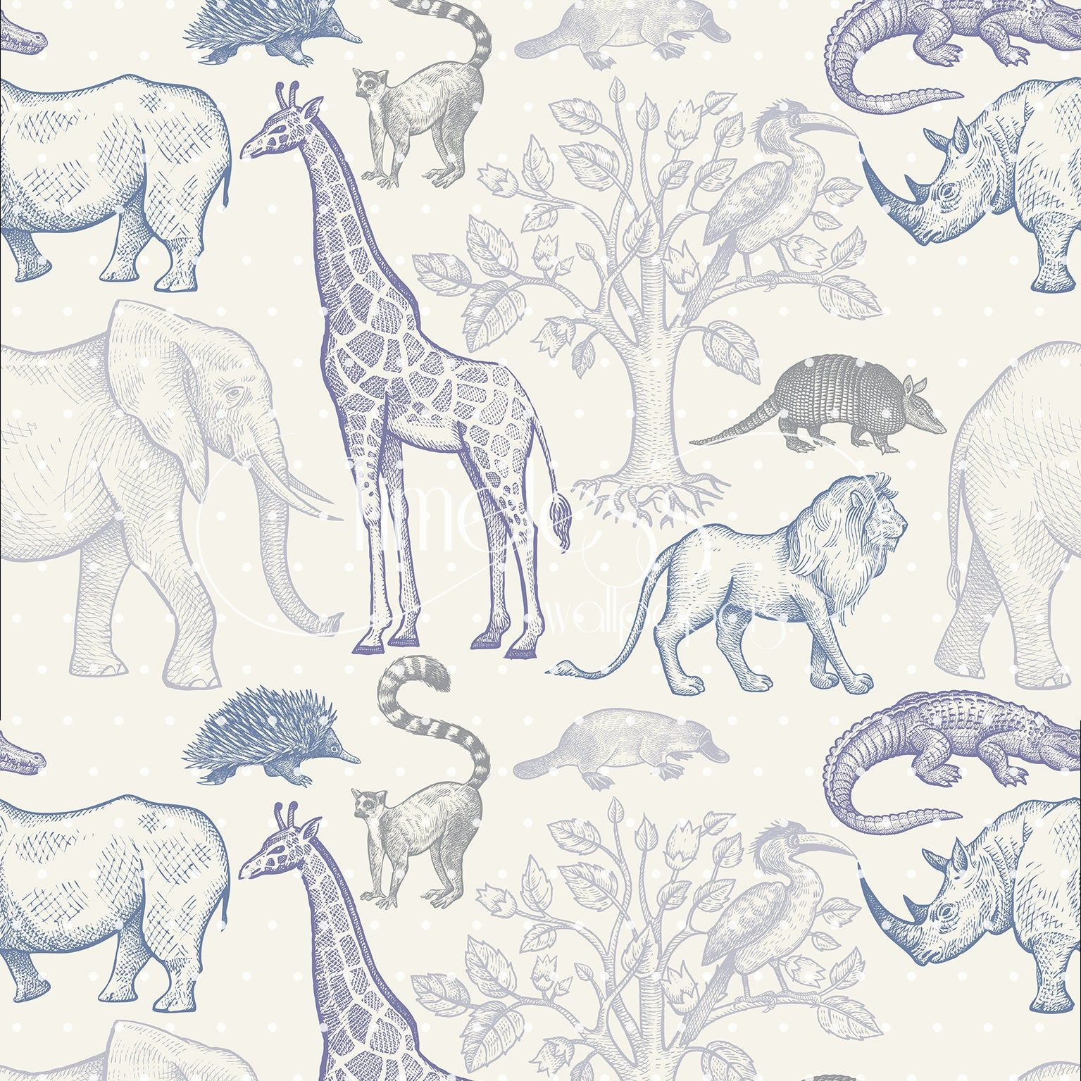 Jungle Animals Removable Wallpaper Sketched Colorful 48 Etsy Removable Wallpaper Wallpaper Jungle Animals